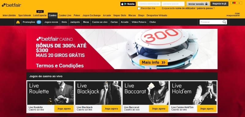 cassino betfair bônus