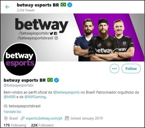 O Betway Brasil é bastante ativo nas redes sociais em sua área de e-sports