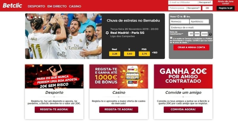 Homepage da Betclic Portugal, site exclusivo para o país europeu.