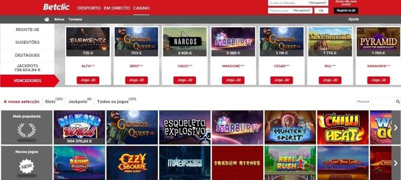 Página de abertura do Casino Betclic.