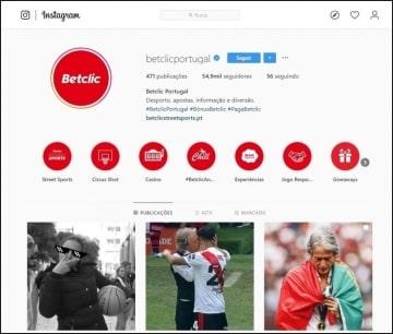 Instagram é a principal rede social da Betclic Portugal