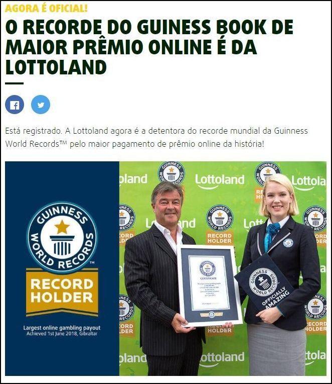 Lottoland recebe condecoração do Guinness Book pelo maior prêmio pago