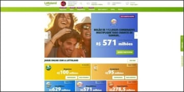 Homepage do Lottoland, portal de loterias.