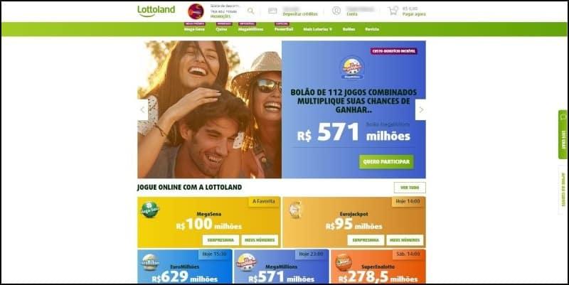 Homepage do Lottoland, portal de loterias.