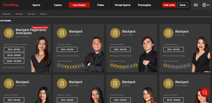bodog cassino ao vivo