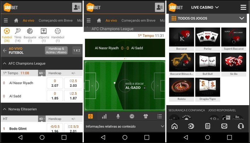 Interface do app 188BET para Android.