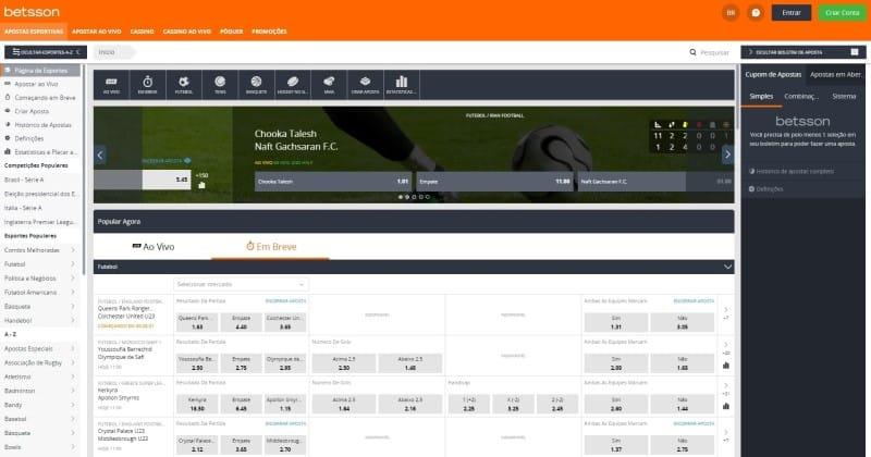 Homepage da Betsson Brasil