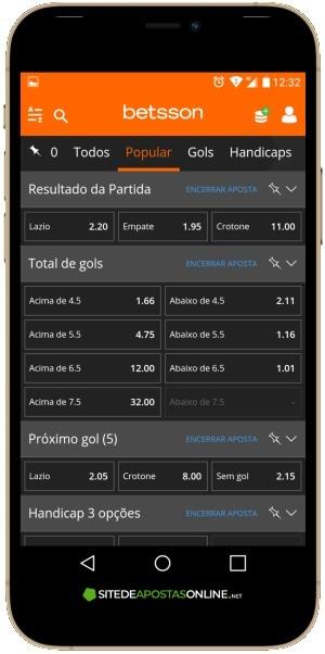 Tela do Betsson app