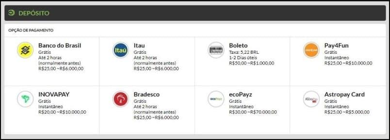 Métodos de depósito no 188BET Brasil