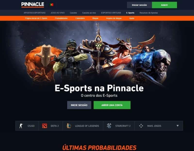 Home do hub de e-ports da Pinnacle Brasil