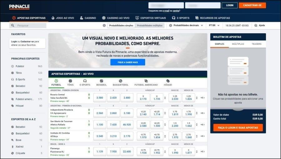 Screenshot da nova página da Pinnacle Brasil