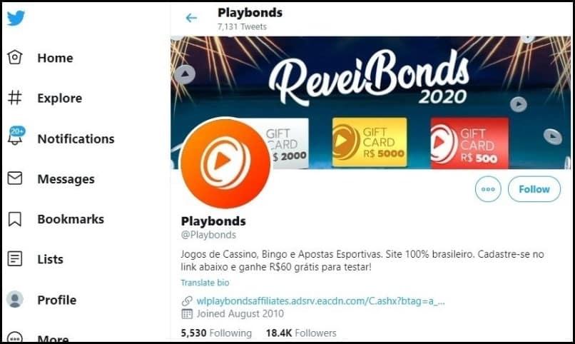 Twitter do Playbonds é atualizado constantemente