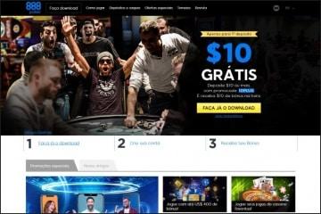 Homepage do 888poker em português