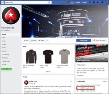 Página no Facebook do PokerStars tem mais de 1,5 milhão de likes