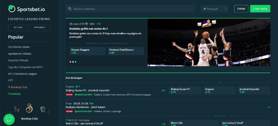 Homepage do site de apostas Sportsbet.io