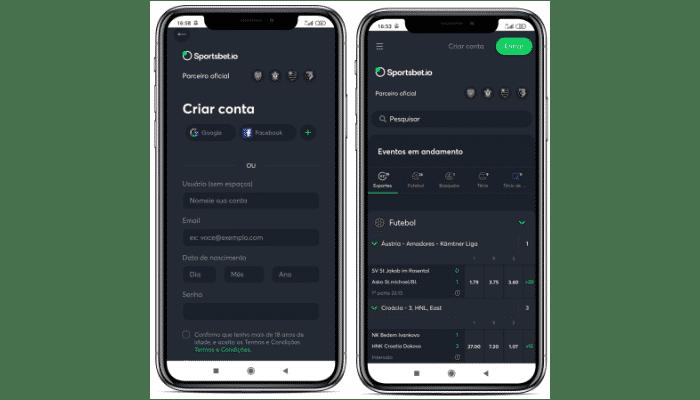 tela de registro e interface de mercados