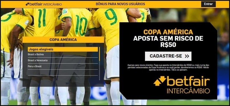 bônus especial da primeira fase da Copa América da Betfair