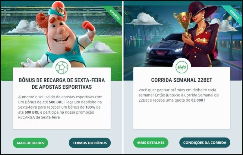 Bonus semanais do site de apostas 22bet