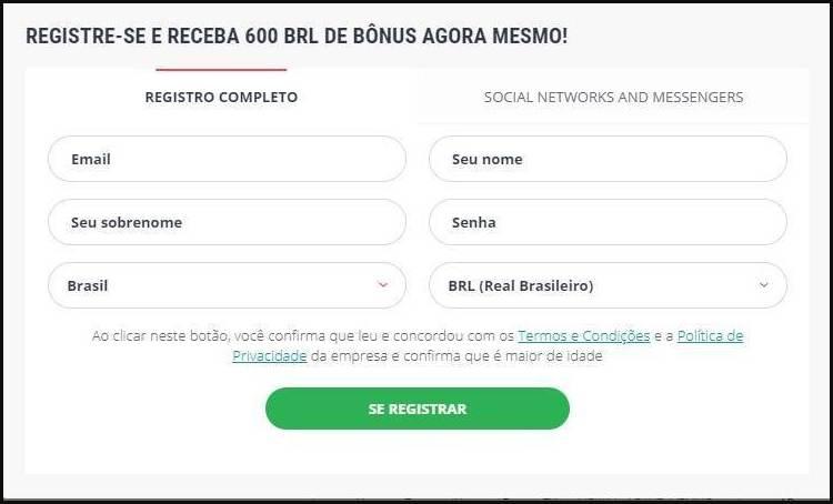 Tela de cadastro para novos usuários do 22bet Brasil