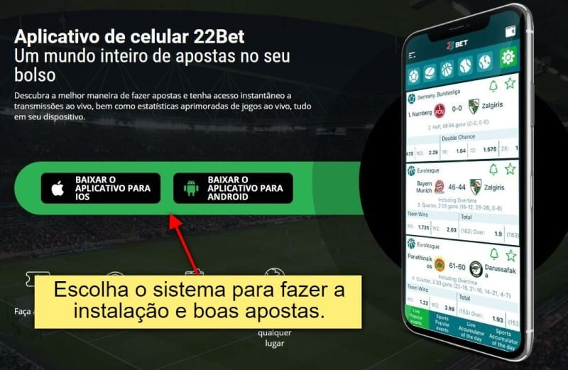 Links para download do 22bet app para Android e iOS