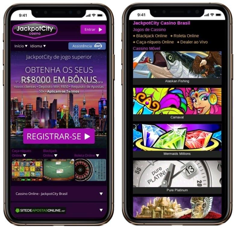 Não há um JackpotCity App, apenas site responsivo