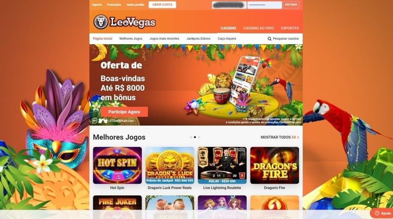 Homepage do LeoVegas Cassino