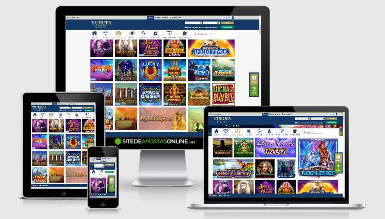 telas de jogo do europa casino no computador, tablet e smaprthone