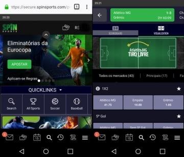 Site responsivo do Spin Sports Brasil