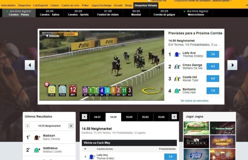 Corrida de cavalos virtual na Betfair