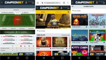 Site responsivo para mobile do Campeonbet Brasil