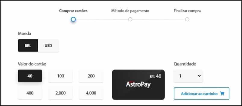 Comprar um cartão AstroPay é muito fácil