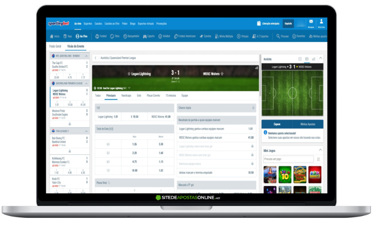 plataforma do Sportingbet no laptop