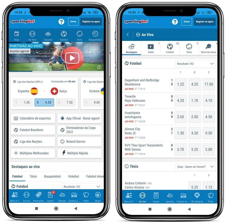tela do sportingbet mobile