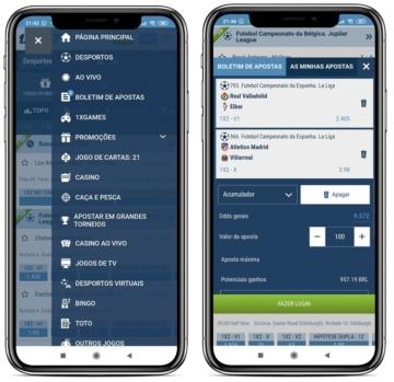 tela com menu e categorias