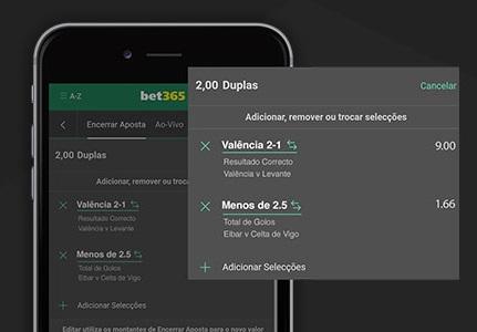 tela do bet365 no celular com função editar aposta