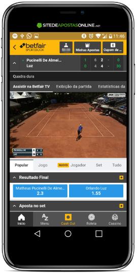 Tênis é um esporte popular na Betfair TV