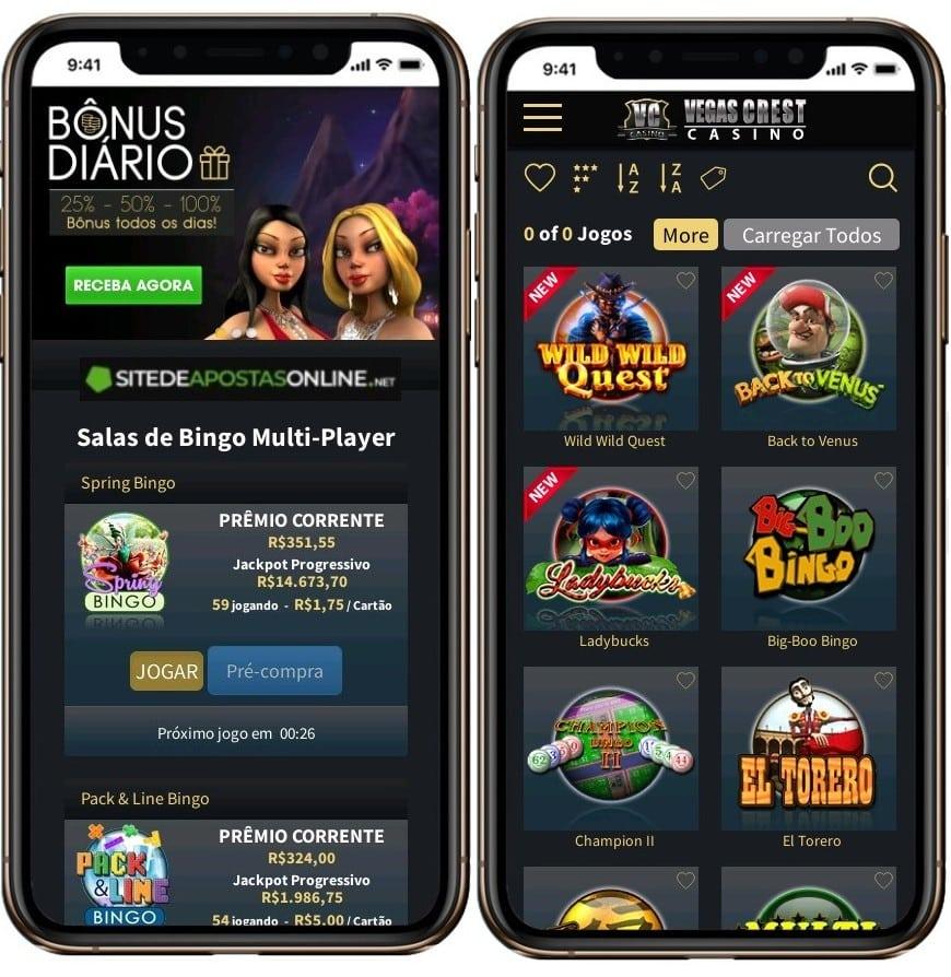 Vegas Crest roda bem em dispositivos móveis