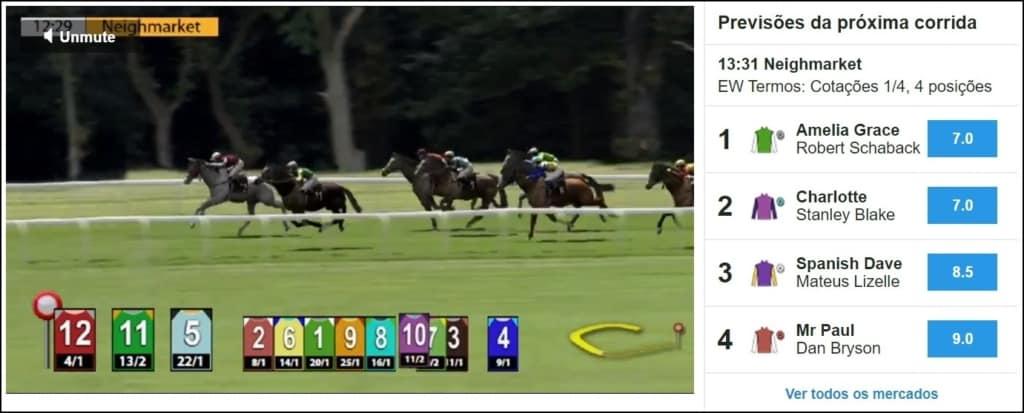 tela de Corrida de cavalos virtual na Betfair