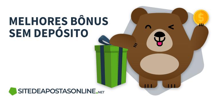 mascote Betto celebrando ao lado de um presente e frase melhores bônus sem depósito