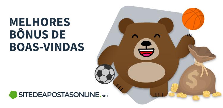 mascote Betto com bola de futebol e saco de moedas, ao lado de texto: Melhores bônus de boas-vindas