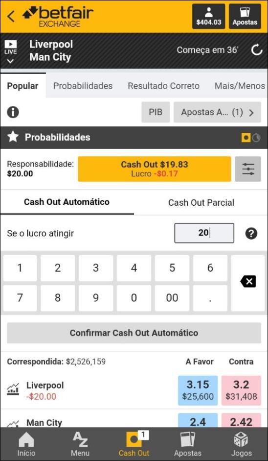 tela de aposta do betfair para retirada automática
