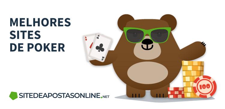 mascote Betto com par de ases e fichas de poker, ao lado do texto: melhores sites de poker
