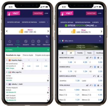 tela de apostas no celular
