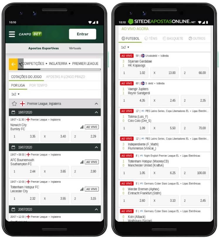 tela de apostas do campobet no celular