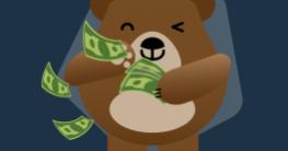 mascote segurando dinheiro