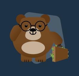 mascote carregando mala de dinheiro