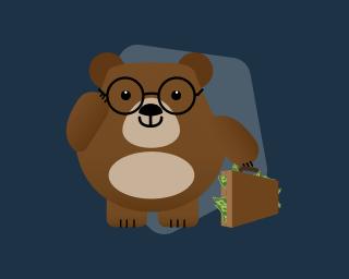 urso de óculos levando mala de dinheiro