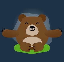 mascote betto fazendo meditação