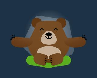 mascote Betto meditando