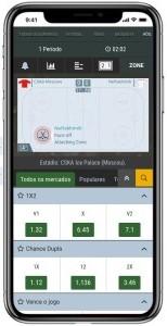 Tela do app Melbet